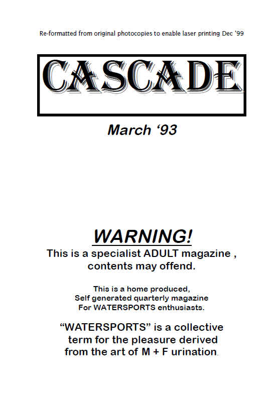 reproduced from original photo copies cascade 1993